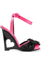 Prada Bow Embellished Satin Wedge Sandals Pink