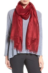 Eileen Fisher Women's Kantha Borders Silk Scarf China Red