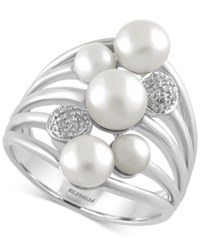 Effy Collection Effy Cultured Freshwater Pearl 4Mm 6.5Mm And Diamond Accent Ring In Sterling Silver