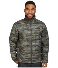 The North Face Thermoball Full Zip Jacket Rosin Green Glamo Print Men's Coat Multi