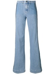 Victoria Beckham Side Stripe Flared Jeans Women Cotton Spandex Elastane 25 Blue