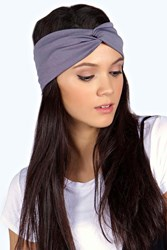 Boohoo Jersey Twist Knot Turban Headband Grey