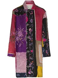By Walid Rufus Embroidered Patchwork Coat Pink