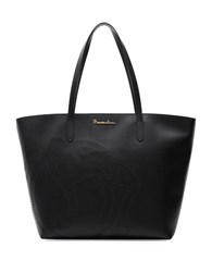 Braccialini New Ninfea Large Embossed Rose Leather Tote Black