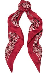 Saint Laurent Printed Silk Twill Scarf Red