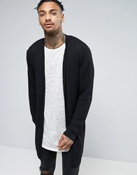 Asos Super Longline Cable Knit Cardigan Black