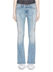 Denham Jeans 'Farrah' Distressed Flare Denim Pants Blue