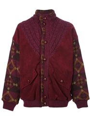 Australian By L'alpina Vintage Cable Knit And Suede Panel Jacket Red