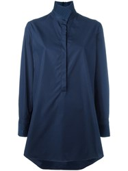 Akris High Standing Collar Shirt Blue
