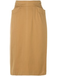 Kenzo Vintage Fitted Pencil Skirt Nude And Neutrals