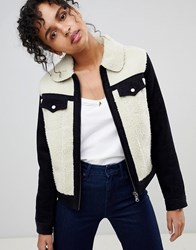 Pepe Jeans Hollie Western Contrast Cord And Shearling Jacket Navy