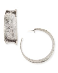 Hammered Oxidized Silver Graduated Hoop Earring Nest Jewelry Gray