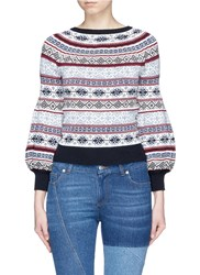 Alexander Mcqueen Fair Isle Knit Puffed Sleeve Sweater Multi Colour
