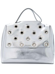 Orciani Studded Flap Tote Women Calf Leather One Size Metallic
