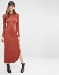 Jdy J.D.Y High Neck Ribbed Maxi Dress Henna Brown