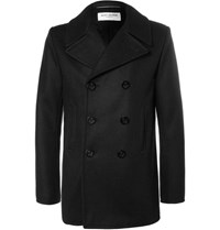 Saint Laurent Double Breasted Cashmere Peacoat Black