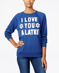 Freeze 24 7 Juniors' Latke Graphic Sweatshirt Navy