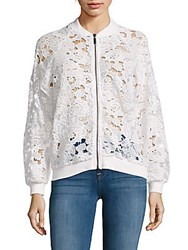 Saks Fifth Avenue Long Raglan Sleeve Lace Bomber Jacket White