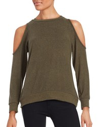 Design Lab Lord And Taylor Cold Shoulder Jersey Knit Top Olive