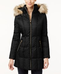 Inc International Concepts Faux Fur Trim Quilted Puffer Coat Only At Macy's Black