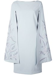 Alberto Makali Embroidered Wing Sleeve Dress Blue