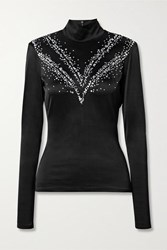 Paco Rabanne Cutout Embellished Stretch Satin Turtleneck Top Black