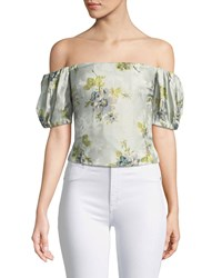 Brock Collection Boie Off The Shoulder Peony Silk Jacquard Corset Top Blue Pattern