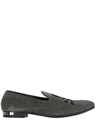 Philipp Plein Skull Embroidered Suede Loafers Grey
