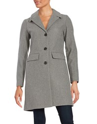 1 Madison Wool Blend Button Front Coat Light Grey