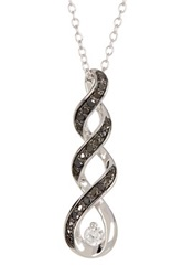Two Tone Black Diamond And Created White Sapphire Spiral Pendant Necklace