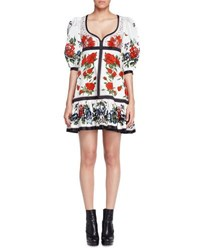 Alexander Mcqueen Bubble Sleeve Tablecloth Print Dress White Multi Pattern