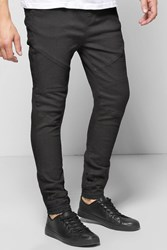 Boohoo Fit Cuffed Biker Jean Black