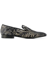 Roberto Cavalli Palm Print Loafers Black