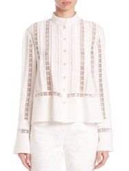 Derek Lam Embroidered Lace Button Up Blouse White