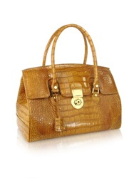 L.A.P.A. Camel Croco Stamped Genuine Leather Satchel Bag