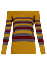 Valentino Off The Shoulder Striped Cashmere Sweater Yellow Multi