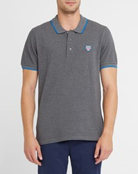 Kenzo Mottled Grey Shades Patch Blue Trim Polo Shirt