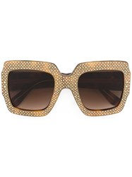 Gucci Eyewear Oversize Crystal Square Sunglasses Brown