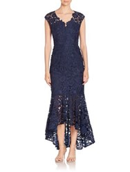 Shoshanna Lace Hi Lo Cap Sleeve Gown Navy