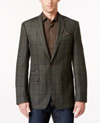 Tallia Men's Windowpane Plaid Sport Coat Green