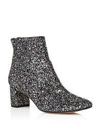 Kate Spade New York Tal Glitter Mid Heel Booties Black Silver
