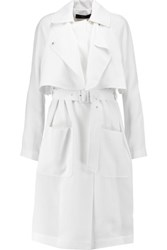 Tibi Belted Twill Trench Coat Off White