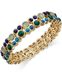 Charter Club Gold Tone Green Blue Multi Stone Stretch Bangle Bracelet Only At Macy's