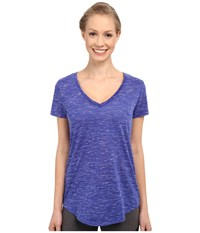 Alo Yoga Deep V Neck Shirt Deep Electric Blue Marble Women's Short Sleeve Pullover