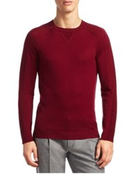 Saks Fifth Avenue Modern Rib Detail Crewneck Sweater Red