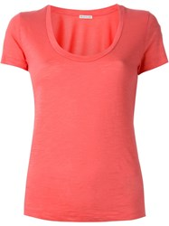 Moncler Scoop Neck T Shirt Pink And Purple