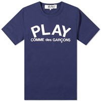 Comme Des Garcons Play Text Logo Tee Blue