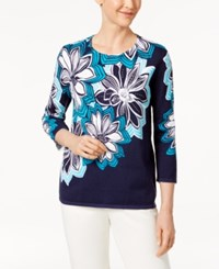 Alfred Dunner Scenic Route Cotton Floral Print Sweater Multi