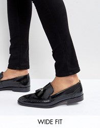 Asos Wide Fit Brogue Loafers In Black Leather With Tassel Black