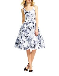 Adrianna Papell Mikado Tea Length Floral Dress White Multi